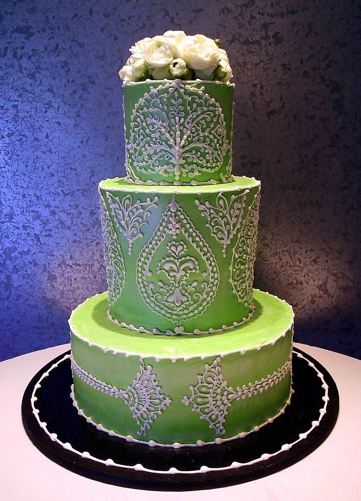 Green Victorian 3 Tier Victorian Wedding Cake Rosebud