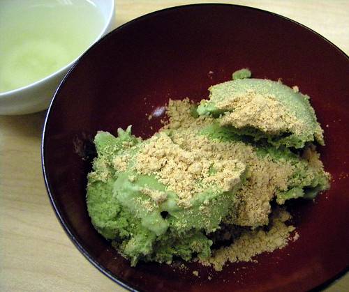 green tea and green tea ice cream topped with roasted soy bean flour