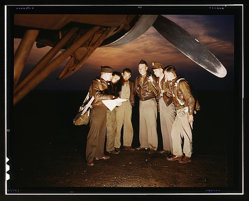 Here's our mission. A combat crew receives final instructions just before taking off in a mighty YB-17 bomber from a bombardment squadron base at the field, Langley Field, Va.  (LOC) | by The Library of Congress