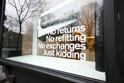 No returns - no refitting - no exchanges - just kidding sign | by geoff_fox