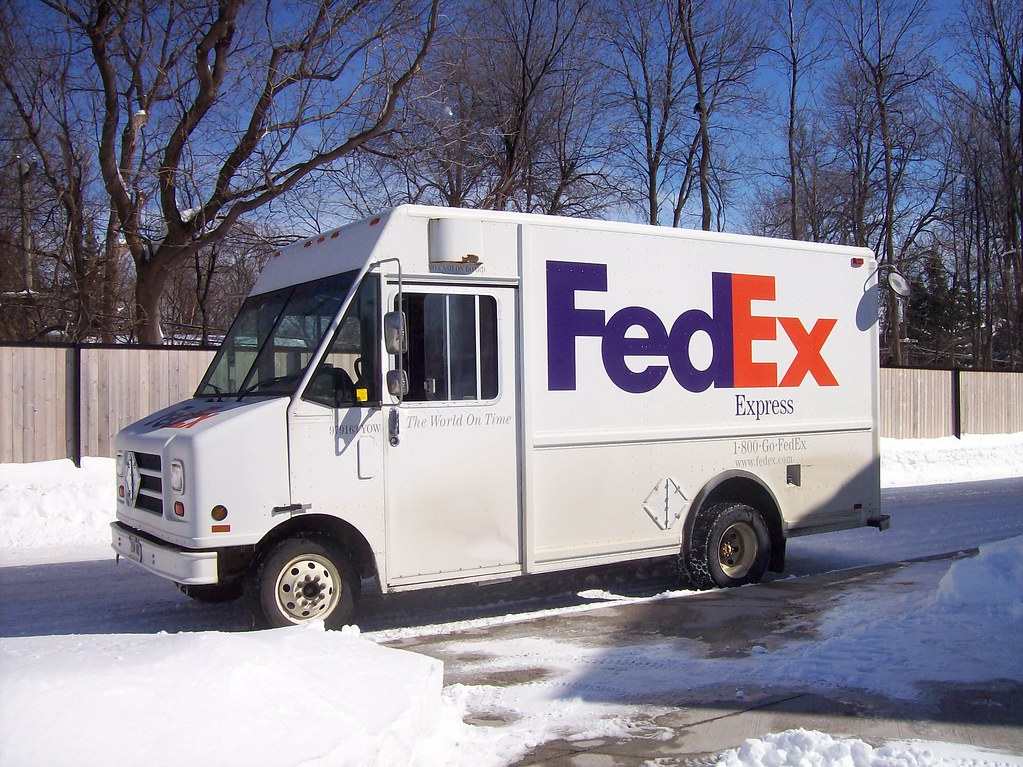Courier Vans In The Parking Lot A Fedex Utilimaster Walk