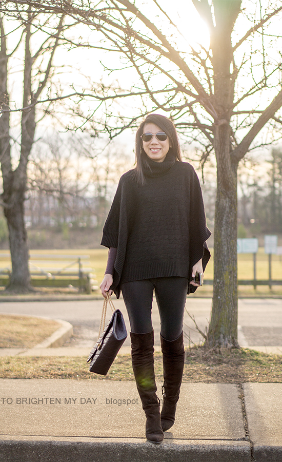 black knit turtleneck poncho, plum long sleeve tee, black skinny jeans, brown suede over the knee boots
