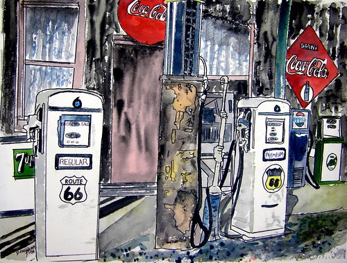 Old Gas Station Drawing route 66 gas station a...