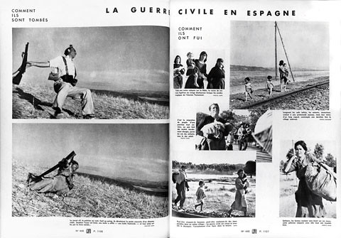 Vu magazine Sept. 23 1936, page spread containing Robert Capa  Spanish Civil War coverage with the Falling Soldier photograph. | by Rosario misteriosa