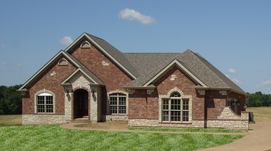 Front elevation full brick with stone accents wightman for Stone and brick home designs