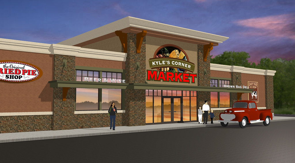 Exterior market design market upgrade grocery store de for Retail store exterior design