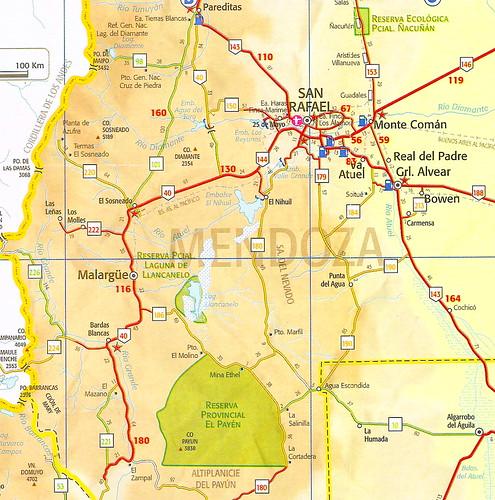Mapa De Rutas De La Regi 243 N Sur De La Prov 237 Ncia De Mendoza