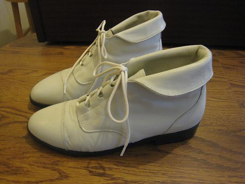 Vintage 80s White Ivory Leather Granny Pixie Lace Up Flat … | Flickr