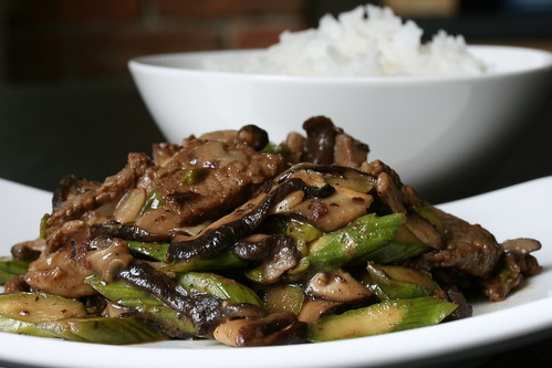 Garlic Beef with Asparagus and Shiitakes | by Sunday Nite Dinner