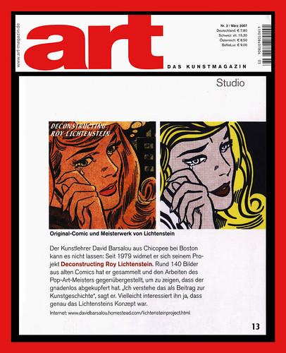 art das kunstmagazin deconstructing roy lichtenstein 200 flickr. Black Bedroom Furniture Sets. Home Design Ideas