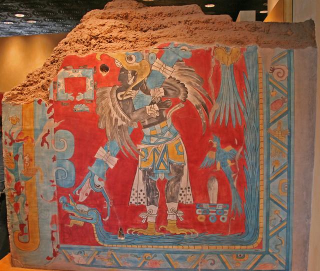 Teotihuacan bird man mural national museum of for Mural z papiezem franciszkiem