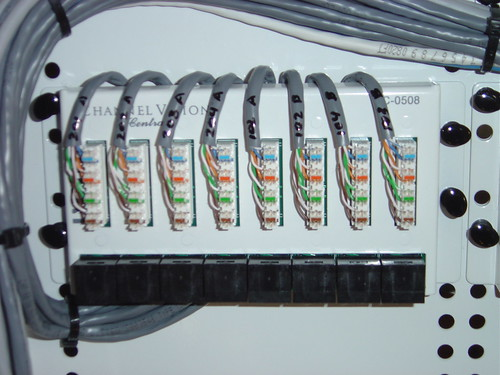 close up view of a cat5e wiring punchdown block this is