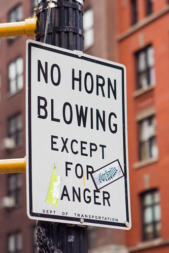 no horn blowing except for anger sign