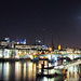 Night London Panorama with Full Moon