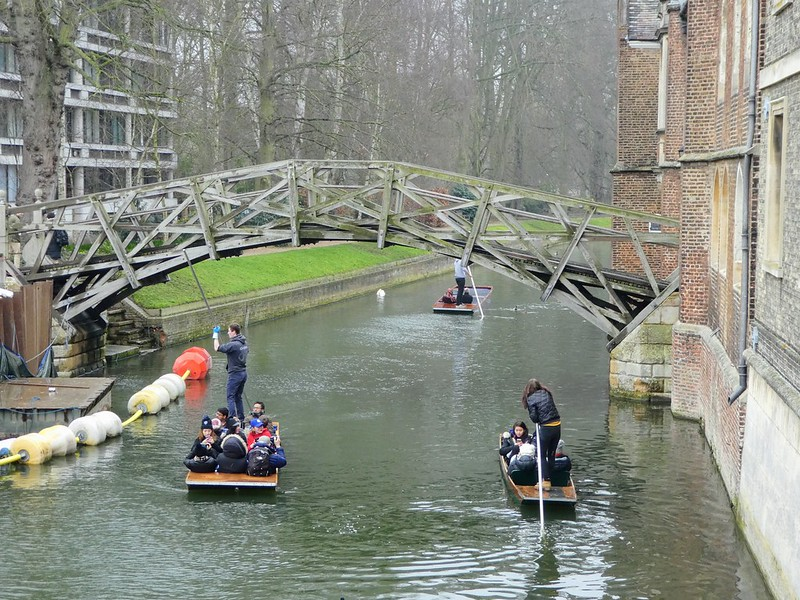 Winter punting on The Cam, Cambridge