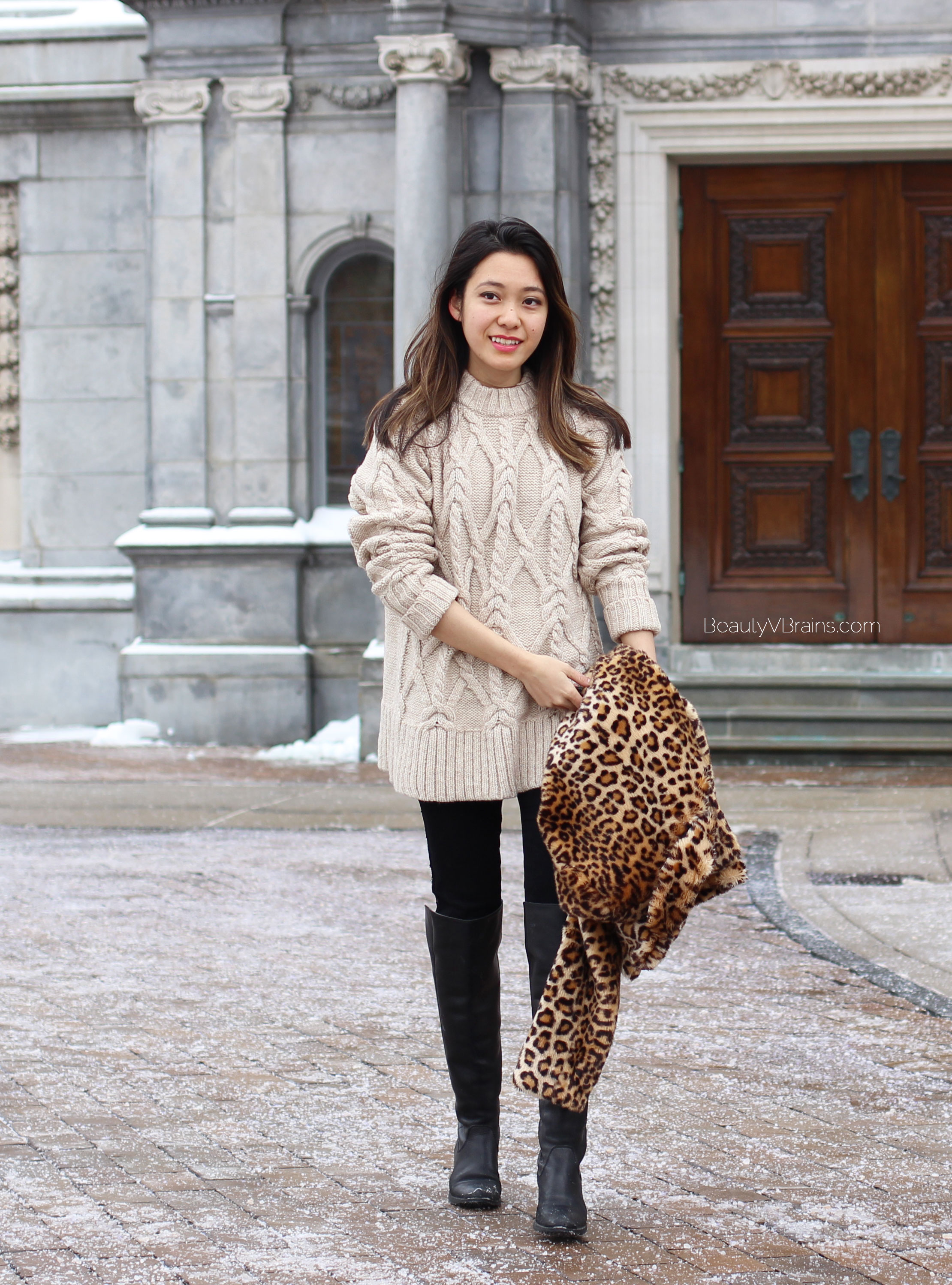 Oversized cable knit sweater winter outfit