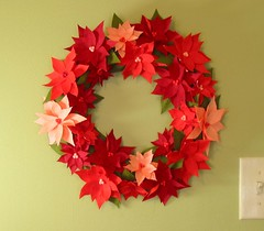 Crepe Paper Poinsettia Wreath | by Wendy Abbe