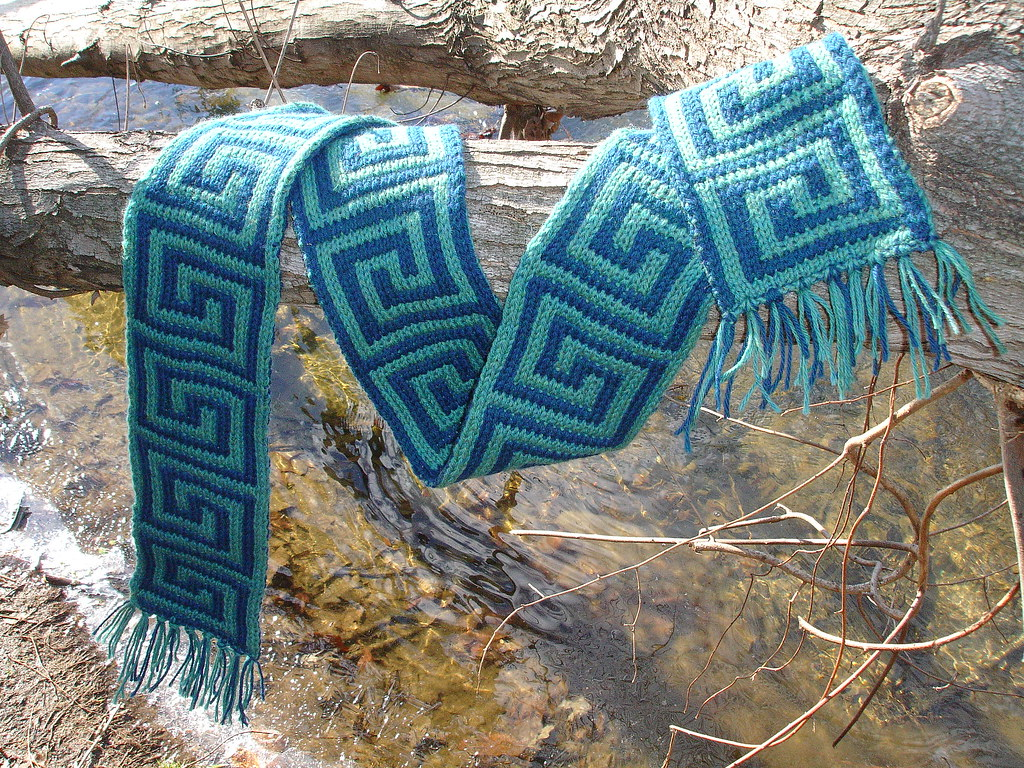 meander scarf 2 Double-Knit Scarf in a traditional Greek-K? Flickr