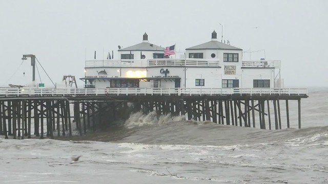storm at the malibu pier