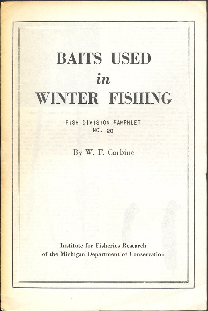Fishing 1950s michigan dnr collectible winter ice fishing for Michigan dnr fishing report