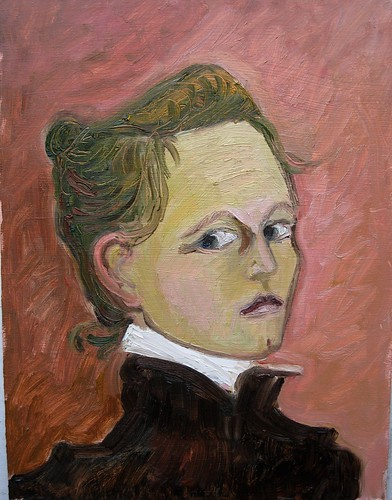 "Oil on canvas 12X9"" Portrait-2 of Helene Schjerfbeck 