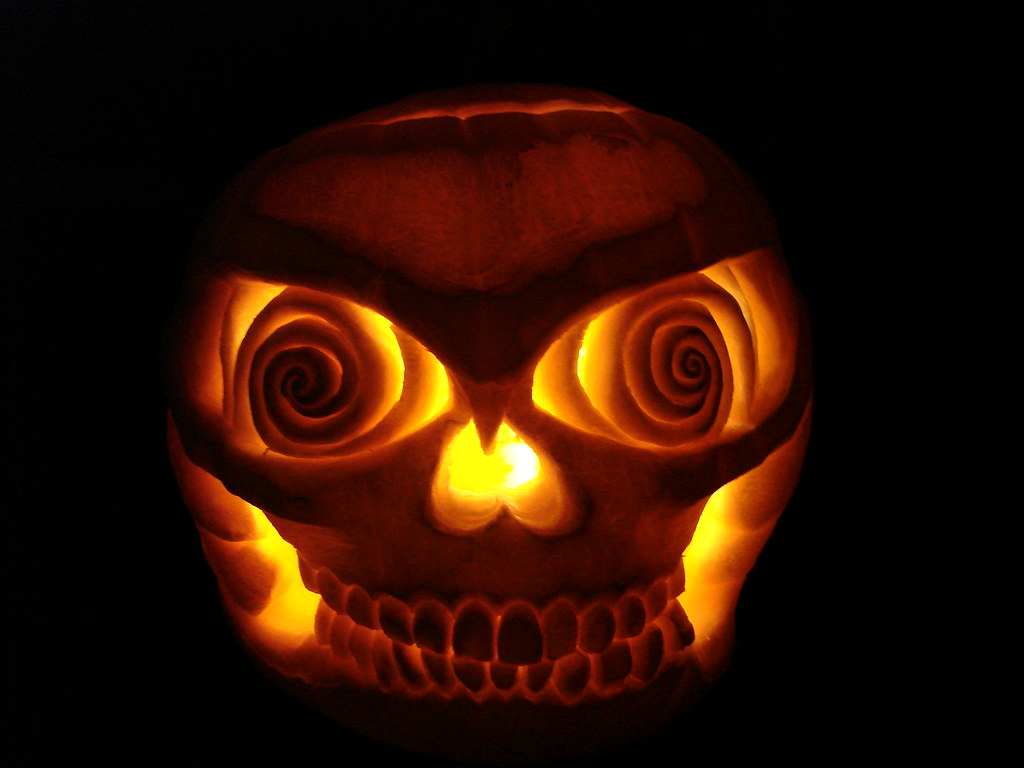 Skull pumpkin carving a friend stopped by with white