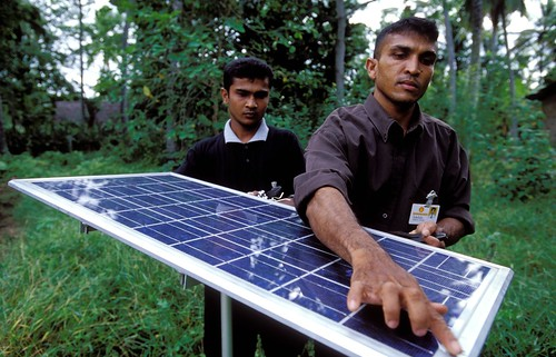 Solar panel on used for lighting village homes | by World Bank Photo Collection