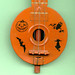 Vintage Halloween Tin Banjo Closeup