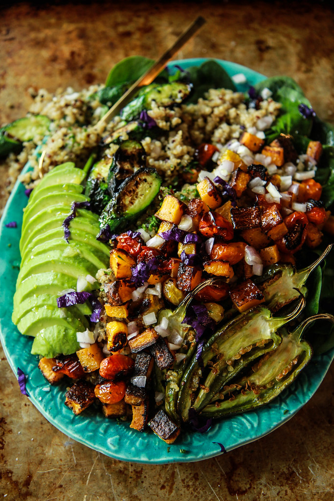 Spicy Vegan Roasted Vegetable Quinoa Salad from HeatherChristo.com