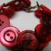 Vintage Red Buttons Bracelet with Swarovski Crystals