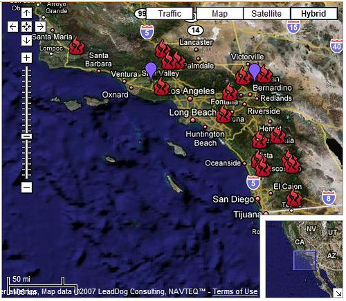 California Wildfires Map  Screengrab Of The Google Map