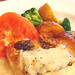 Pot-roasted sea bass with chestnuts cream sause