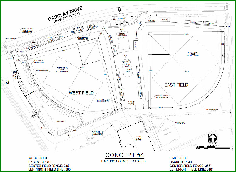 Dunwoodys Final Layout Of Two New Baseball Fields Near Pcms The