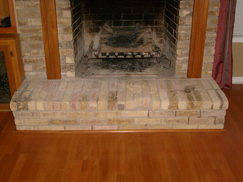 Brick fireplace hearth before primo construction flickr for New construction fireplace