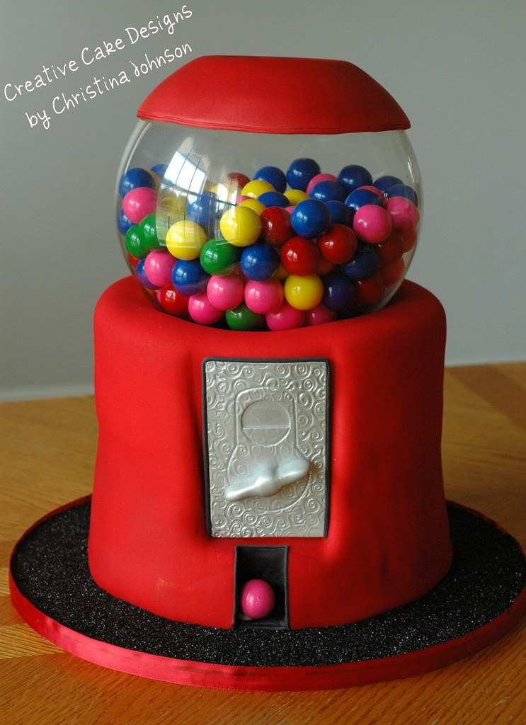 Edible Gumball Machine Cake Covered In Scratch Made