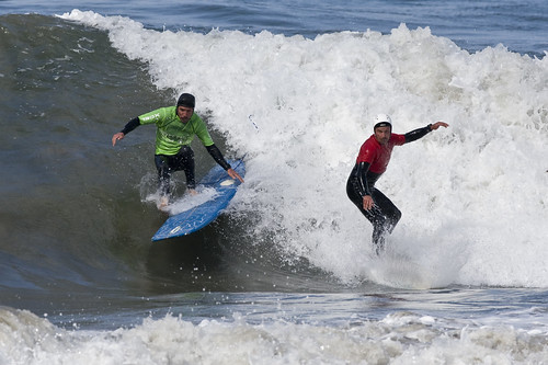 "Surfers collide at the surf contest ""Big, Bad & Ugly"" 