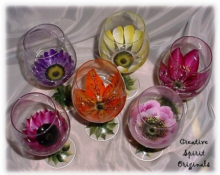 Hand Painted Open Flower Wine Glasses This Set Is By Far M Flickr