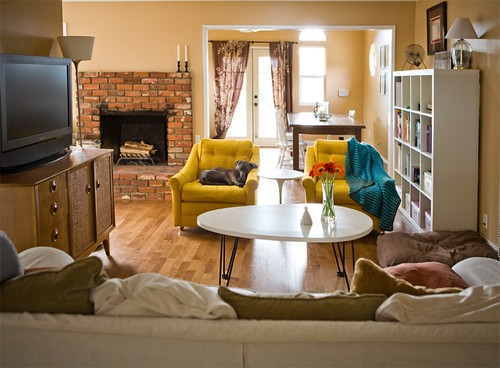 New Living Room Arrangement Moved The Yellow Chairs From