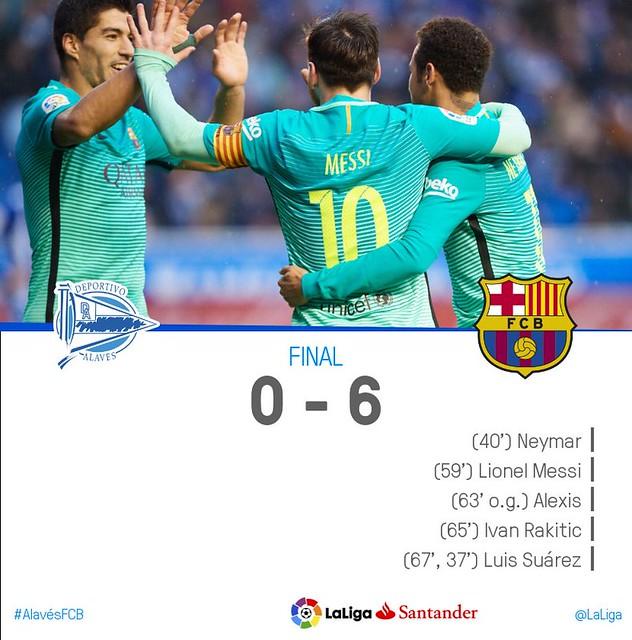 La Liga (Jornada 22): Alavés 0 - FC Barcelona 6