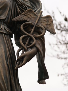 "Caduceus: Detail Of Giuseppe Moretti's 1922 Bronze ""Hygeia"" Memorial To World War Medical Personnel (Pittsburgh, PA) 