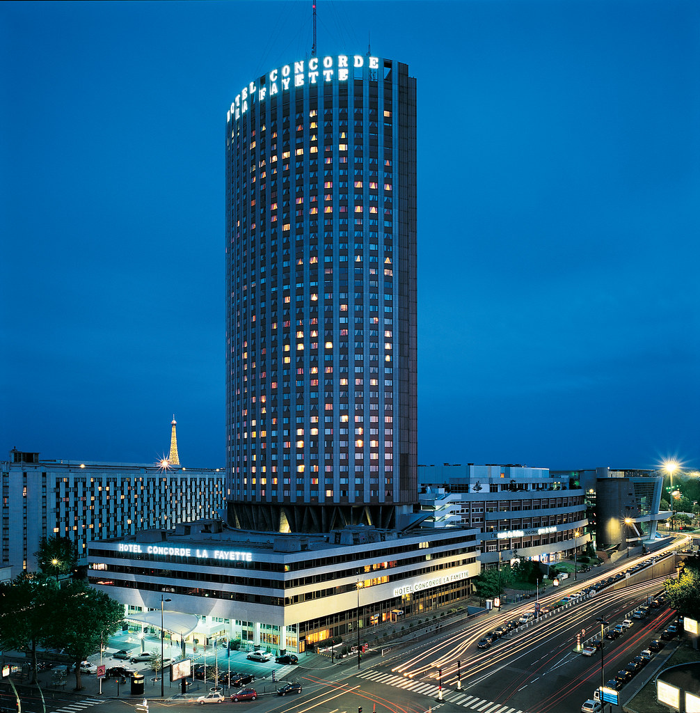Blue colored capture of the colossal tower hotel concorde flickr - Brunch hyatt porte maillot ...