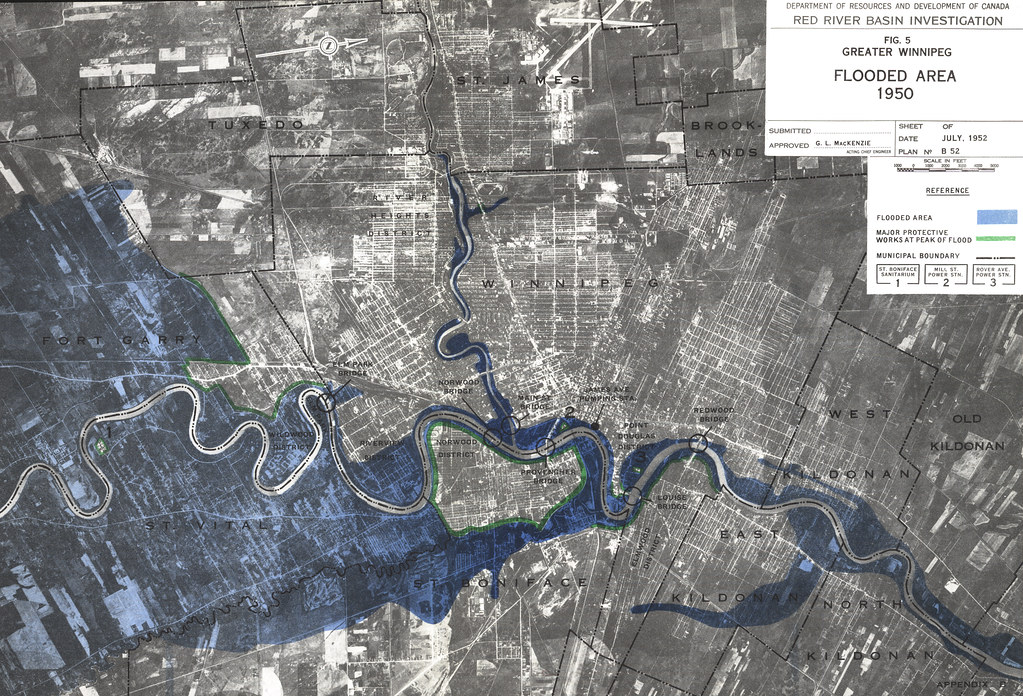Greater Winnipeg Flooded Area 1950 1952 Red River