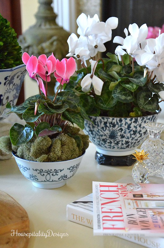 Blue and White-Cyclamen-Pink-Vignette-Housepitality Designs