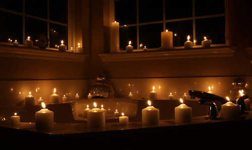 Candles covering the bathtub