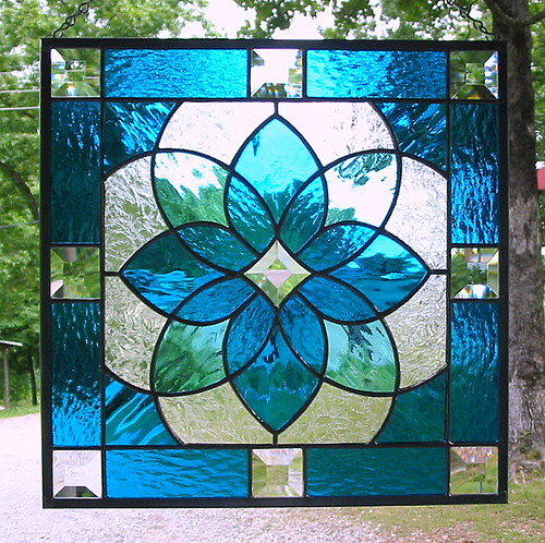 Aqua blue geometric stained glass panel this beautiful for Window design art