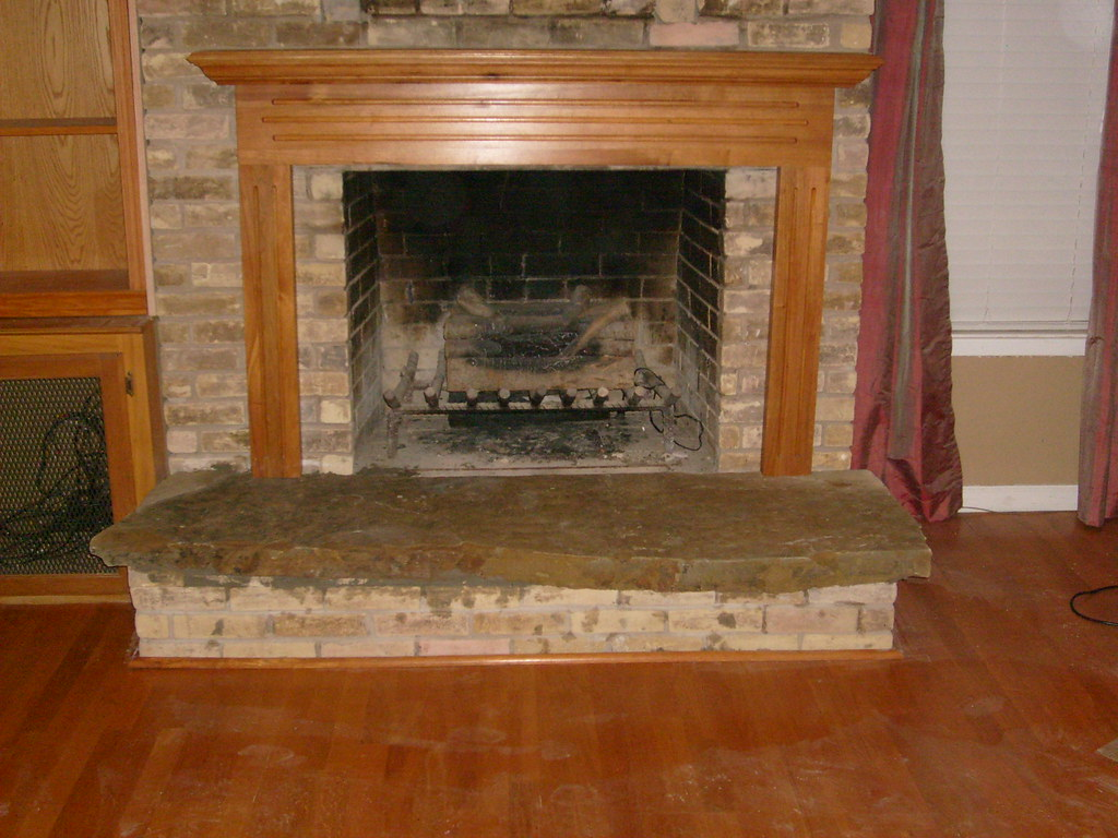 New flagstone fireplace hearth primo construction flickr for New construction fireplace