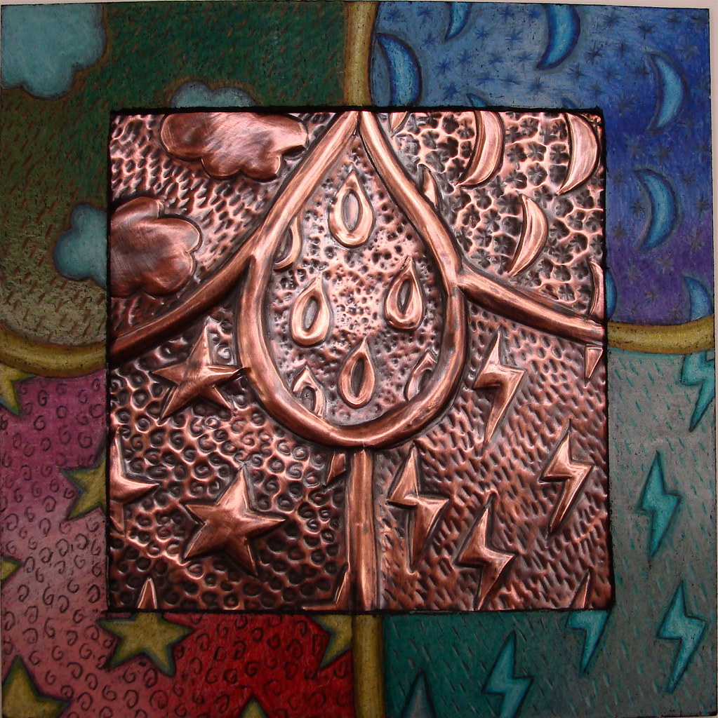 Copper Relief With Decorated Mat Tooled Copper Featuring