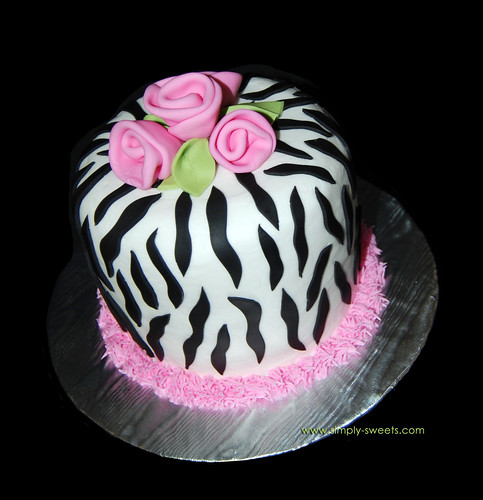 Zebra print cake with pink roses | by Sweet Shoppe Mom and Simply Sweets