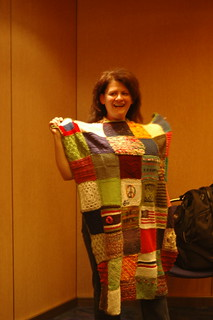 Lorie receives her afghan | by knitgrrldotcom