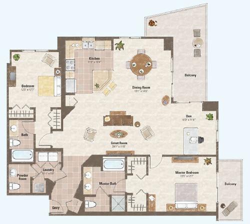 Two bed room and den condo floor plan 2 one las vegas for Condo plans free
